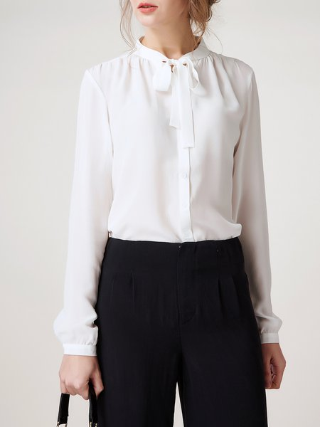 Elegant Silk Bow Long Sleeve Lady Work Blouse