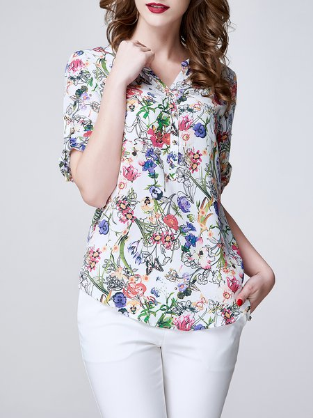 Multicolor Floral Printed V Neck Half Sleeve Blouse