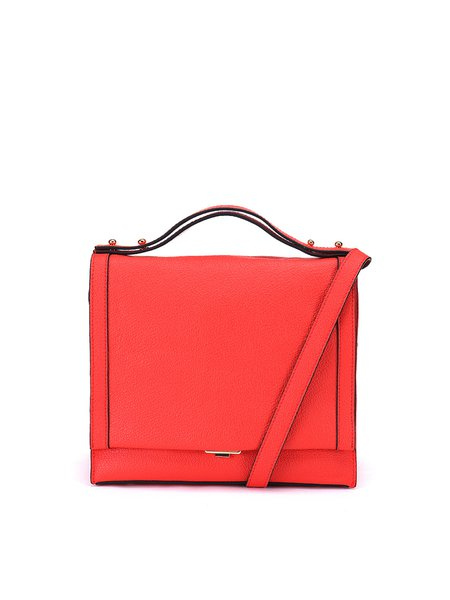 Red Cowhide Leather Small Casual Crossbody