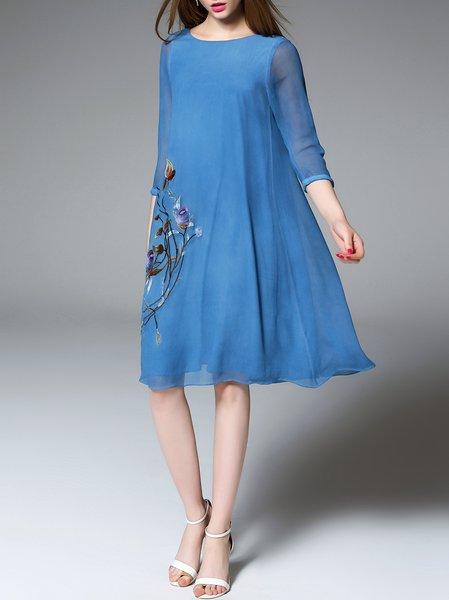 Blue 3/4 Sleeve Floral Silk Midi Dress