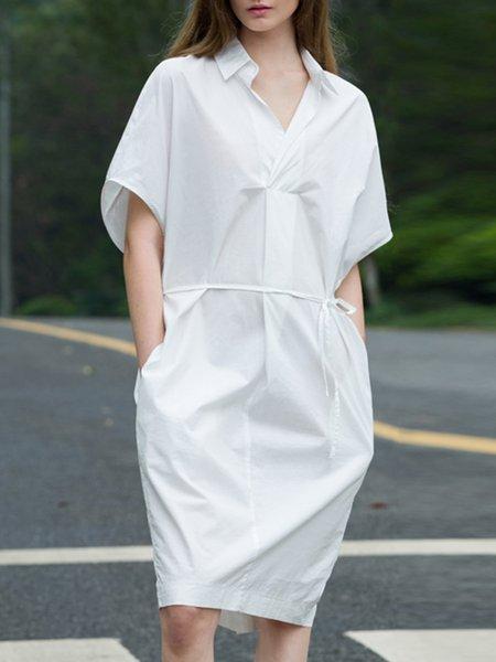 White Pockets Simple Half Sleeve  Pockets Midi Shirt Dress