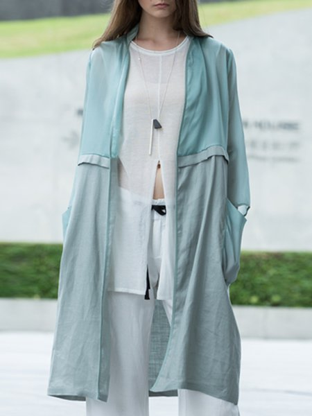 Green Casual Plain Silk H-line Coat