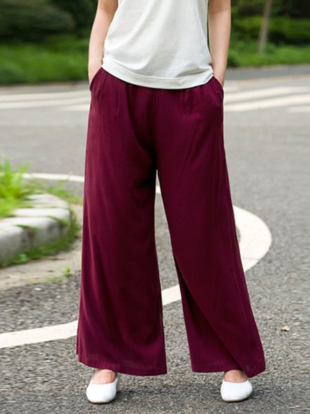 Plain Casual A-line Pockets Wide Leg Pants