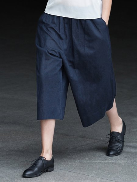 Dark Blue A-line Simple Plain Wide Leg Pants