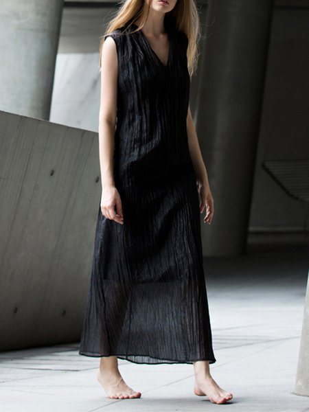 Black Simple Sheath Maxi Dress
