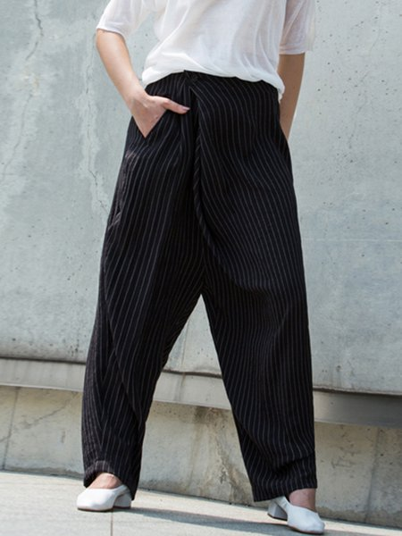 Black Casual Stripes Wide Leg Pants