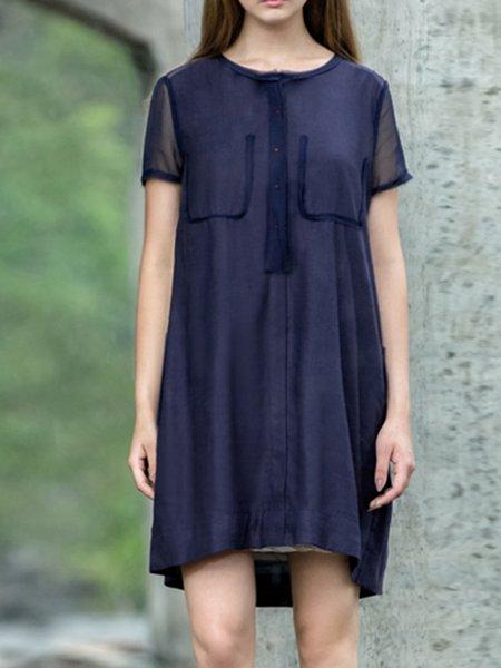 Viscose Simple Short Sleeve Midi Dress