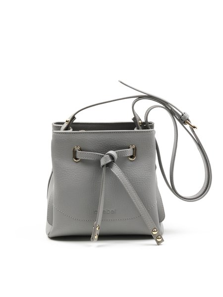 Light Gray Casual Cowhide Leather Zipper Shoulder Bag