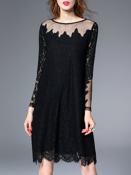 Lace Elegant Long Sleeve Crocheted Crew Neck Midi Dress
