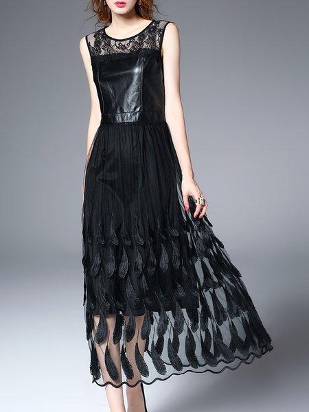 Black Sleeveless Mesh Paneled Embroidered Midi Dress