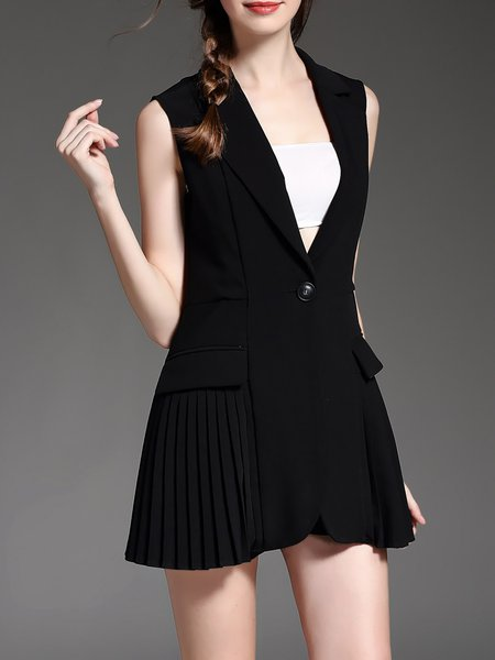 Black Plain Pleated Sleeveless Polyester Vests