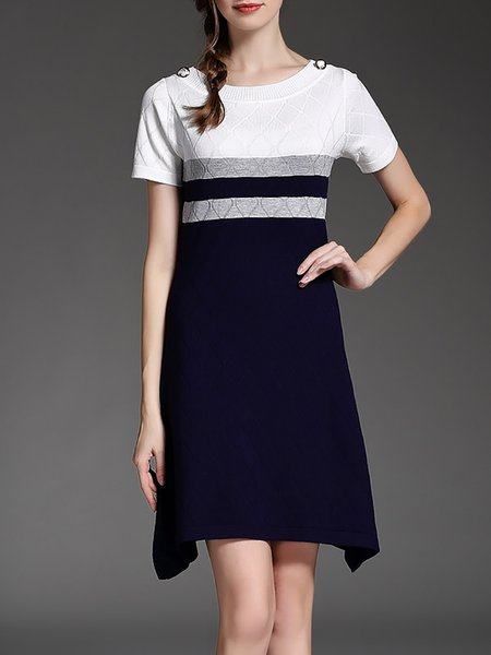 Multicolor Sheath Buttoned Wool Blend Short Sleeve Mini Dress
