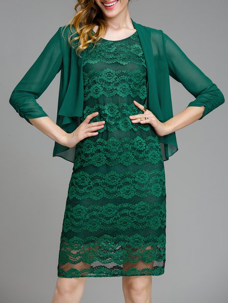 Dark Green Guipure Lace Two Piece Midi Dress