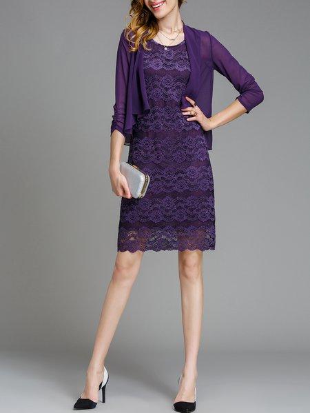 Purple Two Piece Guipure Lace Midi Dress