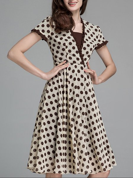 Coffee Polka Dots Printed Swing Chiffon Midi Dress