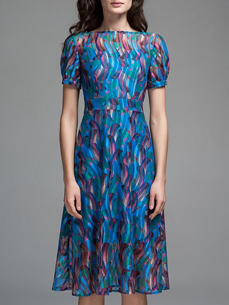 Blue Abstract Printed A-line Short Sleeve Bateau/boat Neck Midi Dress