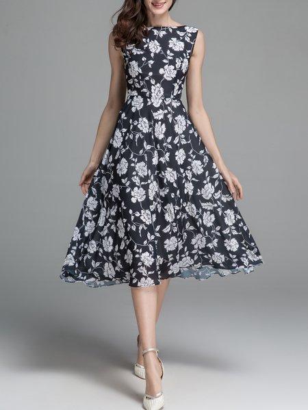 Black Sleeveless Floral-print Swing Bateau/Boat Neck Sweet Midi Dress