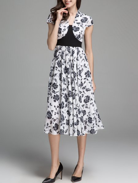 White Floral Floral-print Elegant Midi Dress
