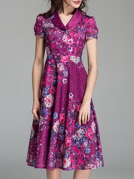 Purple Casual Floral-print Polyester Swing Midi Dress