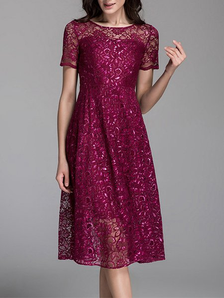 Red Guipure Lace Short Sleeve Crew Neck Swing Midi Dress