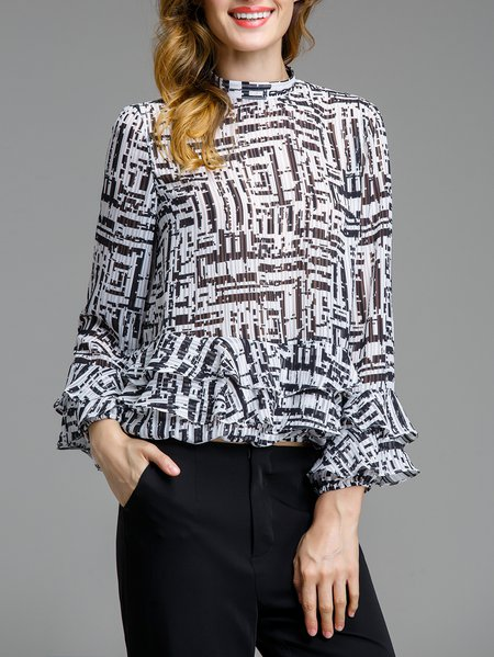Black Printed Stand Collar Simple Blouse