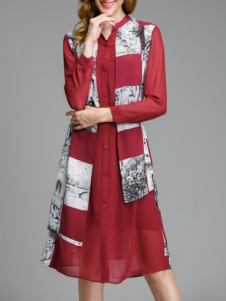 Red Graphic Long Sleeve Polyester Stand Collar Midi Dress