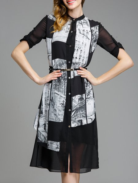 Black Printed H-line Long Sleeve Stand Collar Chiffon Midi Dress