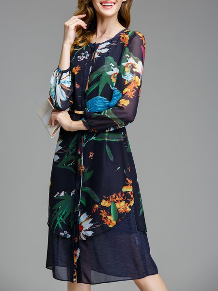 Dark Blue H-line Printed Long Sleeve Chiffon Midi Dress