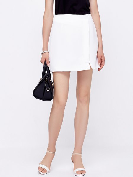 White Slit Simple CasuaL Summer Mini Skirt