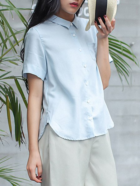 Light Blue H-line Short Sleeve Blouse