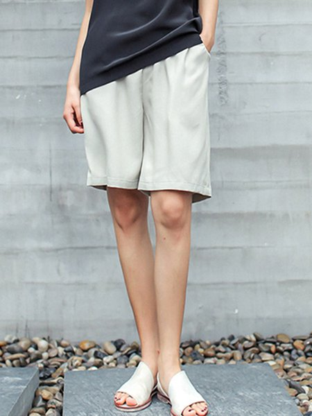 Gray H-line Simple Pockets Plain Cropped Pants