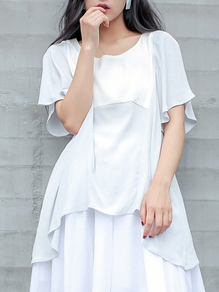 Plain Ruffled Frill Sleeve Casual Tunic