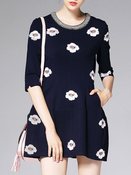 Dark Blue Crew Neck Half Sleeve Cotton-blend Floral Mini Dress