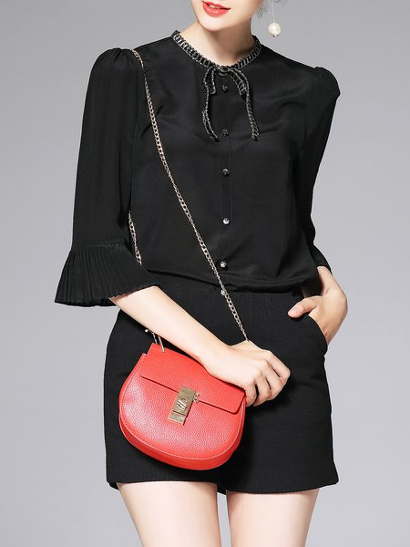 Black Pleated Silk Simple H-line Blouse