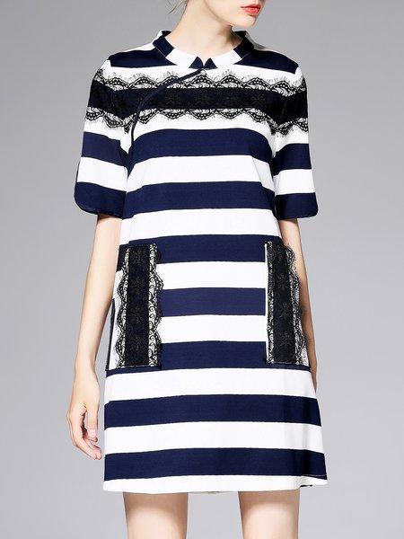 Royal Blue H-line Printed Stripes Simple Lace Paneled Mini Dress