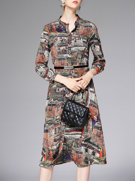 Orange Chiffon Stand Collar Casual Printed Shirt Dress