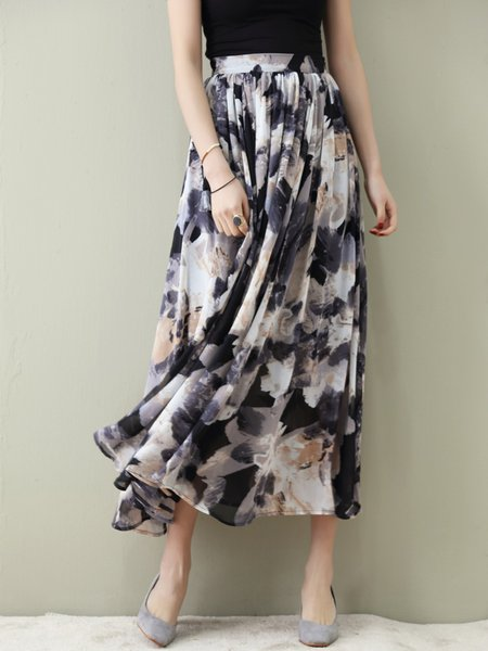 Multicolor Floral Print A-line Maxi Skirt