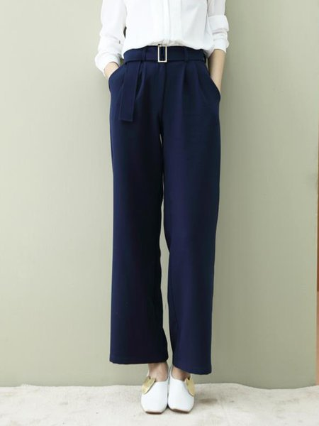 Blue Pockets H-line Polyester Casual Straight Leg Pants