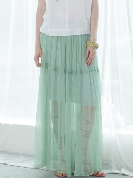 Green Silk Plain Resort Maxi Skirt