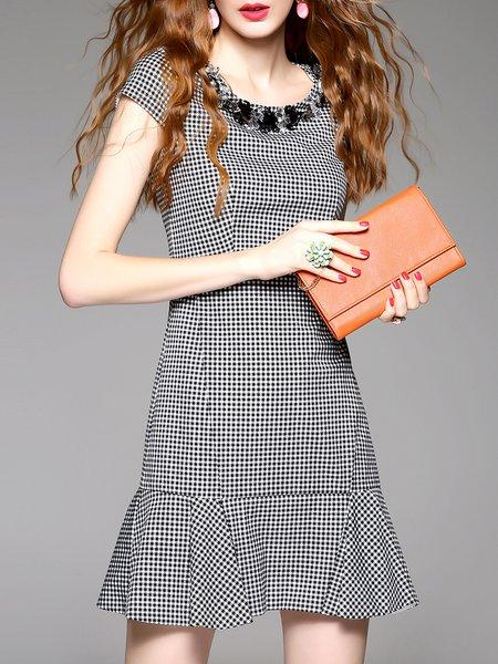 Black Casual Checkered/Plaid Flounce Mini Dress