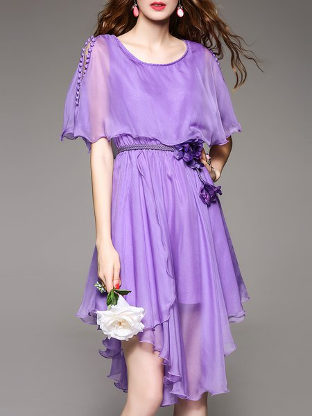 Purple Silk-blend Swing Elegant Buttoned Plain Midi Dress With Belt