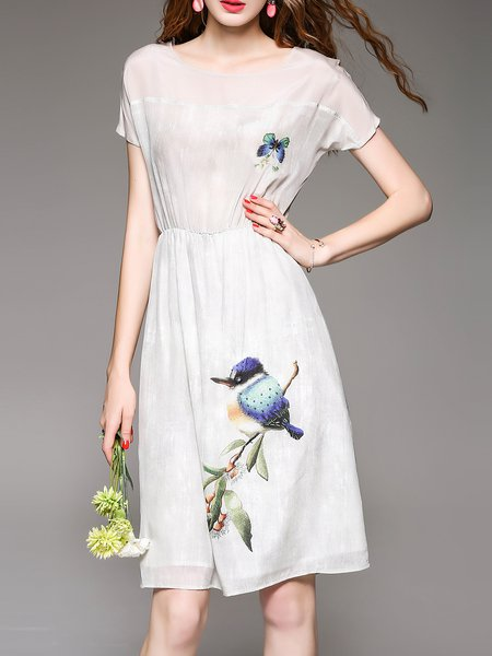 Light Gray Beaded Casual Crew Neck Bird Print Midi Dress