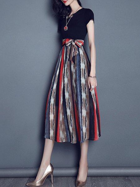 Summer Stripes Short Sleeve Resort Midi Dress