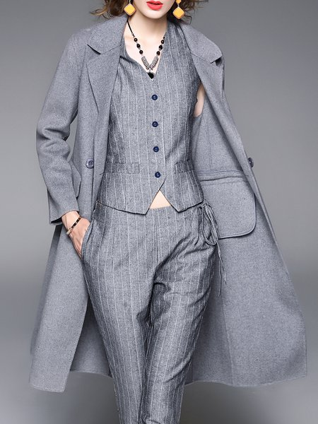 Plain Wool Blend Simple Buttoned Coat