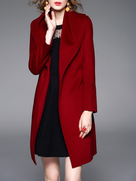 Wine Red Plain Wool Blend Long Sleeve Coat
