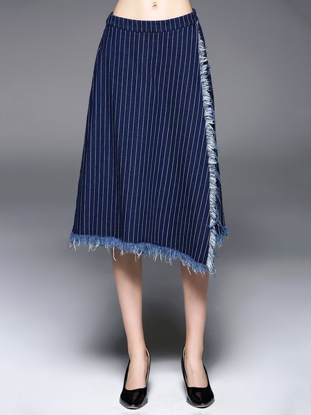 Blue Stripes Cotton Casual Frayed Culottes Pant