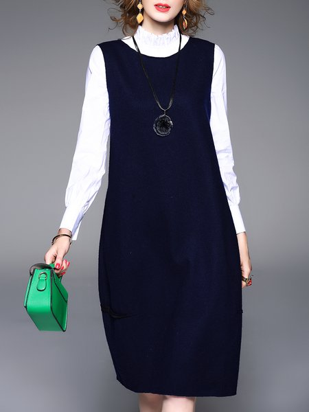 Blue Sewing Wool Blend Solid Casual Midi Dress