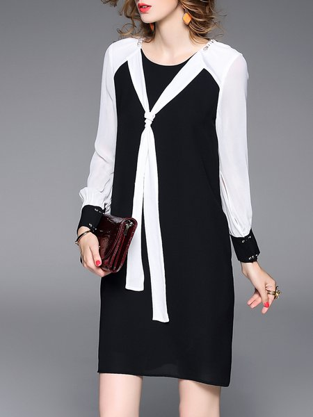 Black Paneled Plain Statement Sheath Midi Dress