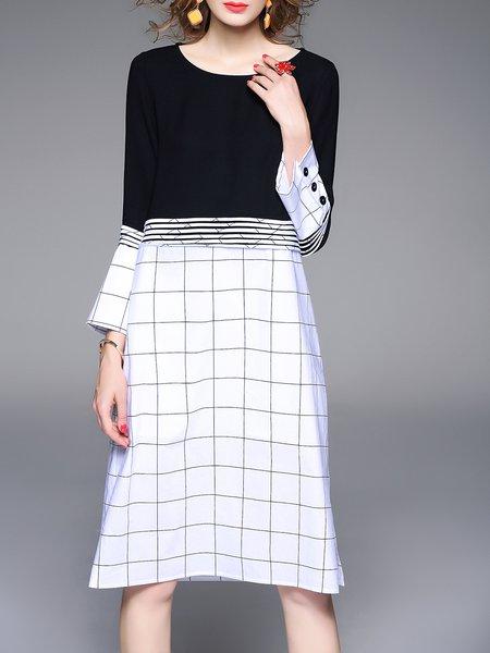 White Statement Checkered/Plaid Cotton Crew Neck Midi Dress