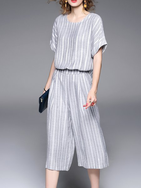 Gray Stripes Crew Neck Polyester Statement Jumpsuit